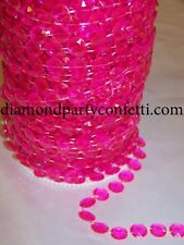 Diamond Hot Pink Garland Acrylic Crystal Bead Wedding Decoration 99 feet