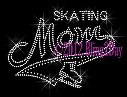 Skating MOM Banner Tail Rhinestone Iron on Transfer Hot Fix Bling Sports