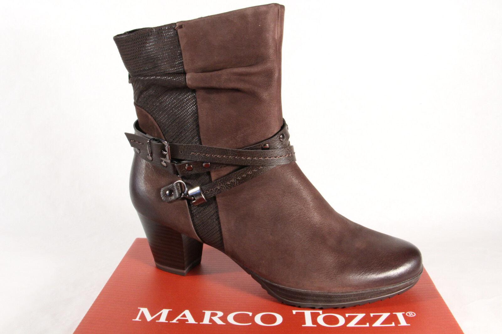 Marco Tozzi señora botas botines botas de cuero genuino marrón nuevo!