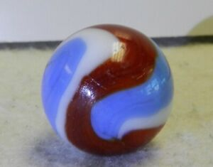 #10664m Vintage Akro Agate Red White and Blue Corkscrew Shooter Marble .80 In