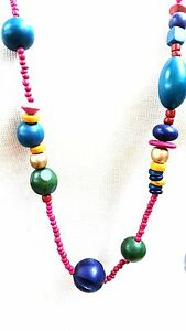 Wood-Boho-long-Necklace-Stained-Color-Beads-Vintage