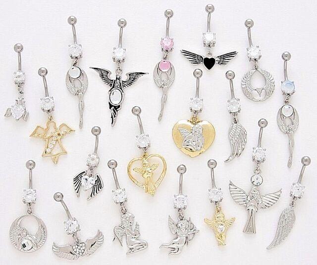 10 Cz Dangle Belly Button Rings Angel Wings 14g Wholesale Gem Fancy Navel 364