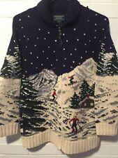 Ralph Lauren LRL Cardigan Sweater Ski Skier Christmas Moose Lodge Womens Small S