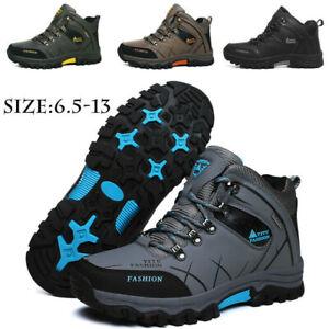 Para-hombres-Cuero-Impermeable-Invierno-Botas-de-trabajo-al-aire-libre-Senderismo-Zapatos-De-Piel