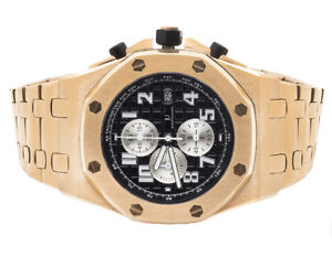 Mens-Jewelry-Unlimited-Solid-Rose-Gold-Steel-Black-Dial-Chronograph-Watch