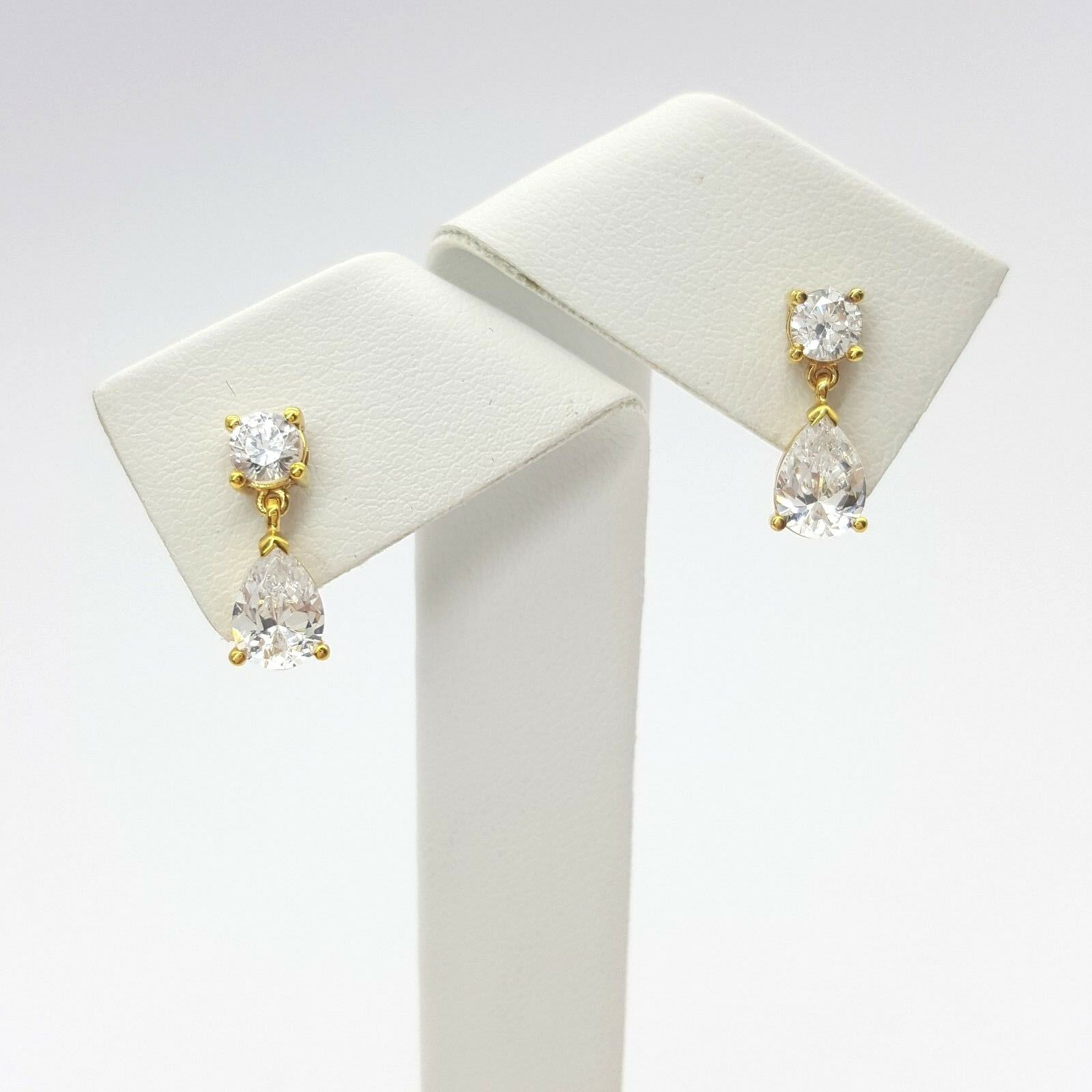 Ladies Dangle Earrings 9ct (375, 9K) Yellow gold Diamante Dangle Earrings
