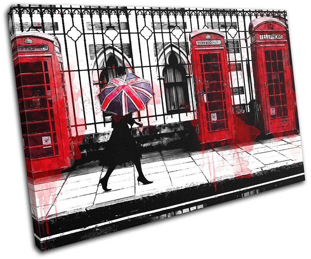 rot phone Boxes British London  City SINGLE Leinwand Kunst Bild drucken