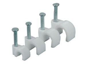 Clips De Cable Redondo Blanco 4mm-9mm Con Fijación Clavos-Packs De 100