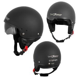Open-Face-Jet-Helmet-Moped-Motorbike-Scooter-Inner-sun-visor-Matt-Black-M