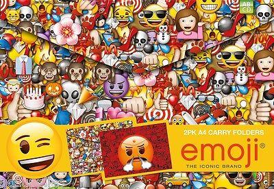 Pack 2 A4 Emoji Carry Folders Plastic Document Wallets Paper Homework File EMBTW