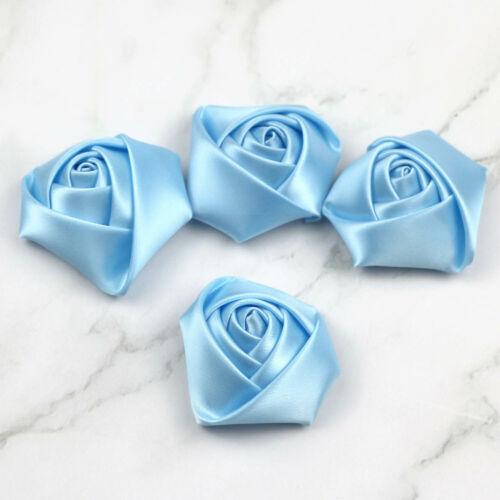 28 Color 20//50pcs Mini Ruban Satin Fleur Rose À faire soi-même Craft Wedding Appliques