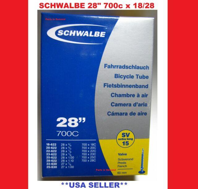 "PAIR 2 NEW Schwalbe 28/"" Bike Race Tube 700c x 18-28c RVC Presta 60mm X LONG STEM"
