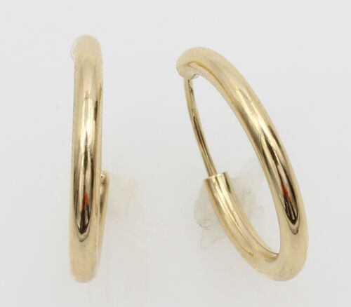 14K Yellow Gold 2mm Thickness High Polished Endless Hoop Earrings