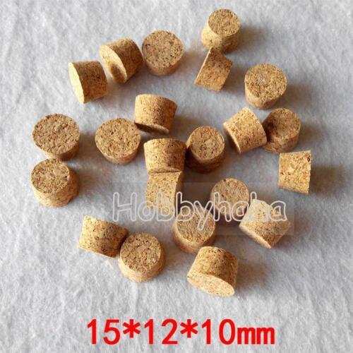 50 un.15*12*10mm pequeño tubo de vidrio tapón de corcho pequeño diámetro Enchufe