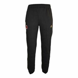 Detalles de Adidas AC Milan 3 Rayas Sudor Pantalones Negros Pantalón de Chándal Cómodo