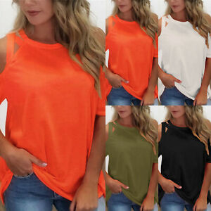 Women-Cold-Shoulder-T-Shirt-Ladies-Short-Sleeve-Summer-Casual-Blouse-Tops-Tee-US