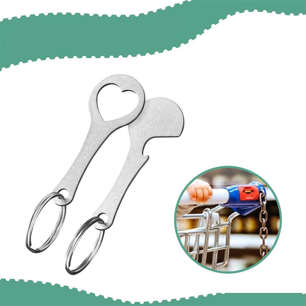 2 piezas de plata carrito de la compra llaves extraíble chip de clave de Token Carrito de la compra
