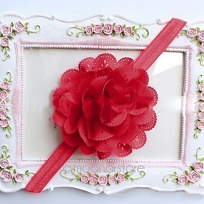 Cute Baby Infant Girl Lace Flower Elastic Hair Band Headband Hairwear Hairdress