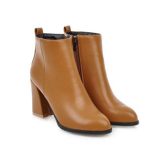 Women Autumn Chunky High-heeled Pointed Ankle Boots PU Leather Zip Outdoor shoes