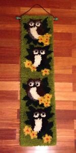 VTG Yarn OWL Wall Hanging HAND HOOKED RUG Latch Hook Decor 46 Long x 12 Wide