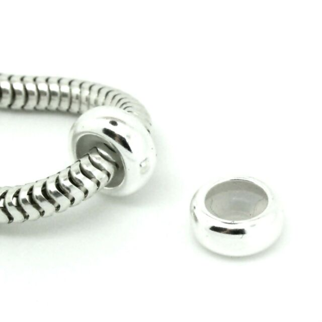One plain STOPPER - Solid 925 sterling silver European charm bead - MOONDROPS™