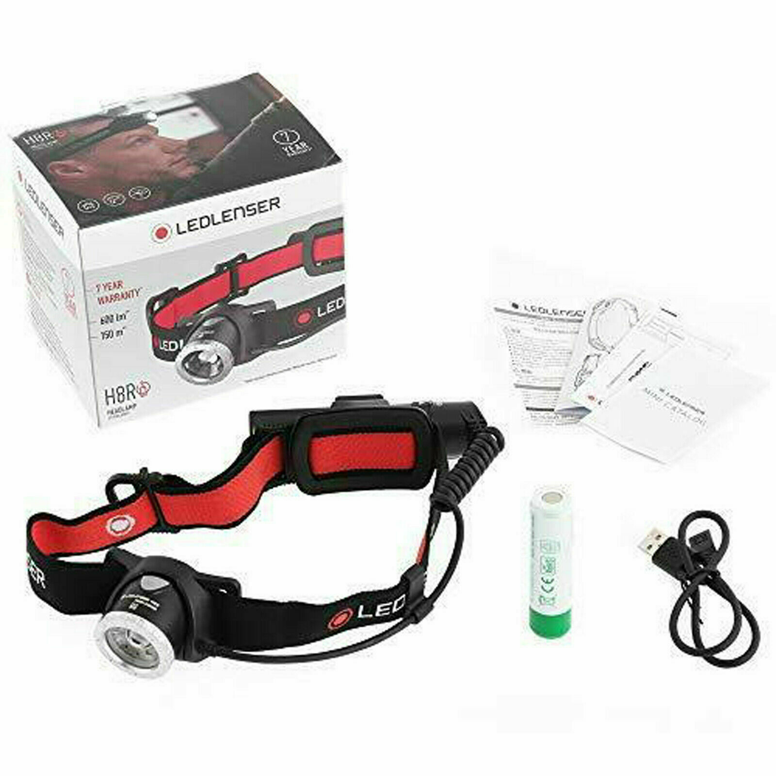 LED Lenser H8R Rechargeable Headlamp Head Torch P5 Torch TWIN Pack