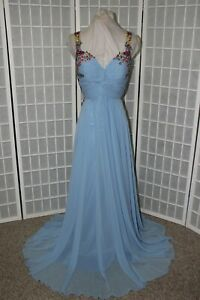 NEW Angela & Alison Size 12 Blue chiffon embroidered long formal prom gown