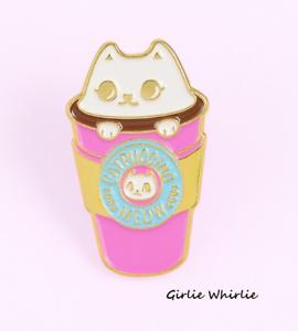 Cat Pin Badge Brooch Gift Enamel Cat Lover Catpuccino Jewellery Kitten Ladies UK