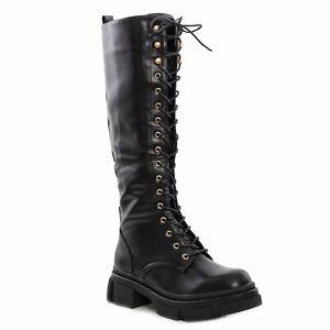 Women-Boots-amphibians-Biker-Lace-Up-Laces-Shoes-Calf-TOOCOOL-ml65
