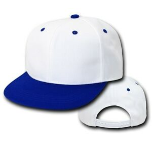White Royal Blue Vintage Flat Bill Snap Back Snapback Baseball Cap ... 7cc3402c322
