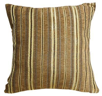 Wd31Ba Gold Tan Damask Chenille Stripes Throw Cushion Cover//Pillow Case *Size