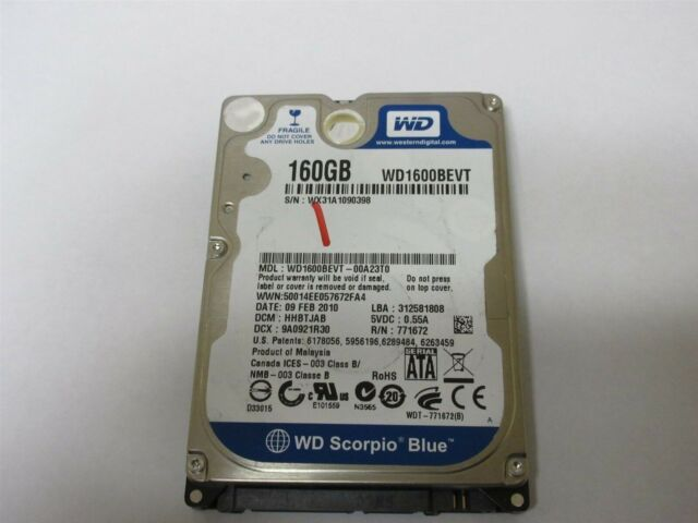 "Western Digital Scorpio Blue WD1600BEVT 160GB 2.5/"" SATA II Laptop Hard Drive"
