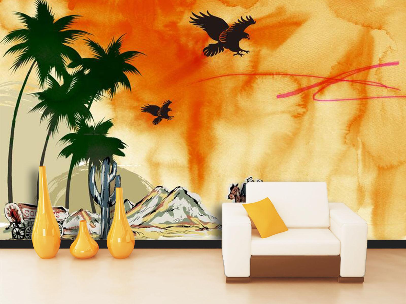 3D Mare, albero 3 Parete Murale Foto Carta da parati immagine sfondo muro stampa