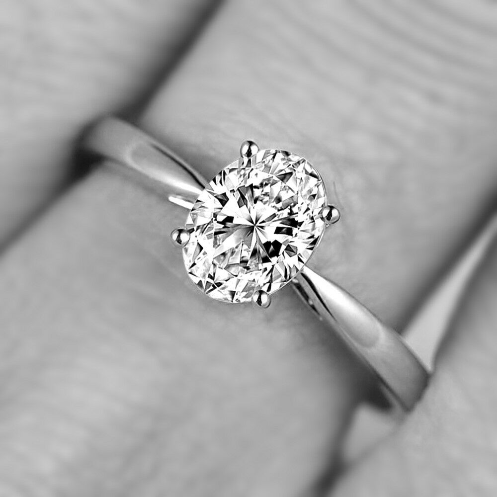 1.20 Ct Oval Solitaire Diamond Engagement Ring 10k Solid White gold Rings