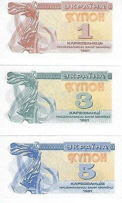P-81 Lot 5 PCS banknote UNC Ukraine 1 Karbovantsiv 1991