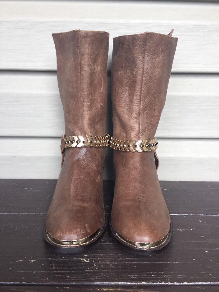 ABS ALLEN SCHWARTZ PERSIMMION LEATHER LEATHER LEATHER HARNESS WESTERN BOOTS BROWN 7.5 NEW   169 a65641