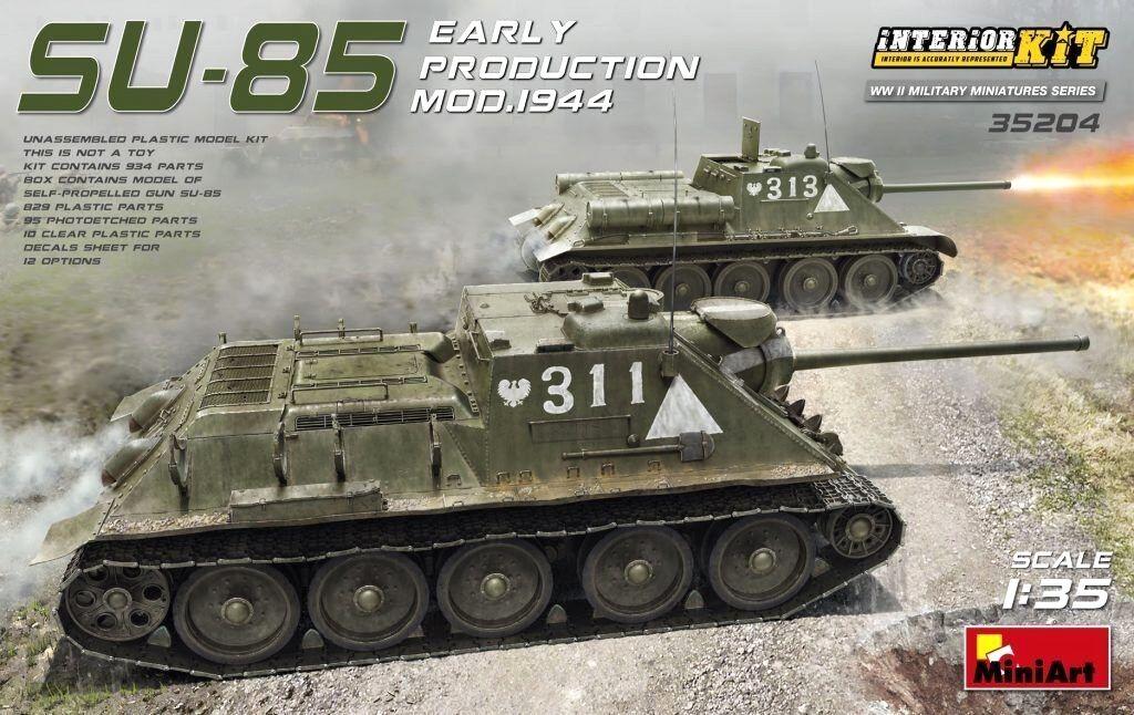 Miniart 1 35 SU-85 Early Prod. Mod.1944 SPG Tank W  Full Interior Model Kit