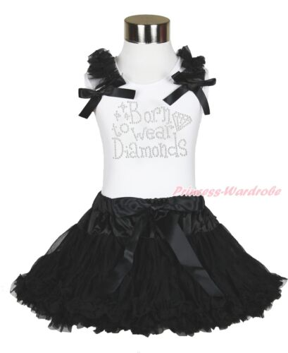 Rhinestone Born to Wear Diamonds White Top Black Skirt Baby Girl Outfit Set 1-8Y