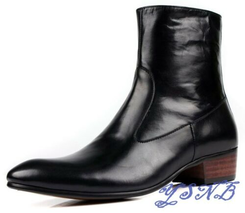 Fashion Cowboy Boots GENUNIE LEATHER Work Ankle Boots Mens Zipper Boots Shoes Sz