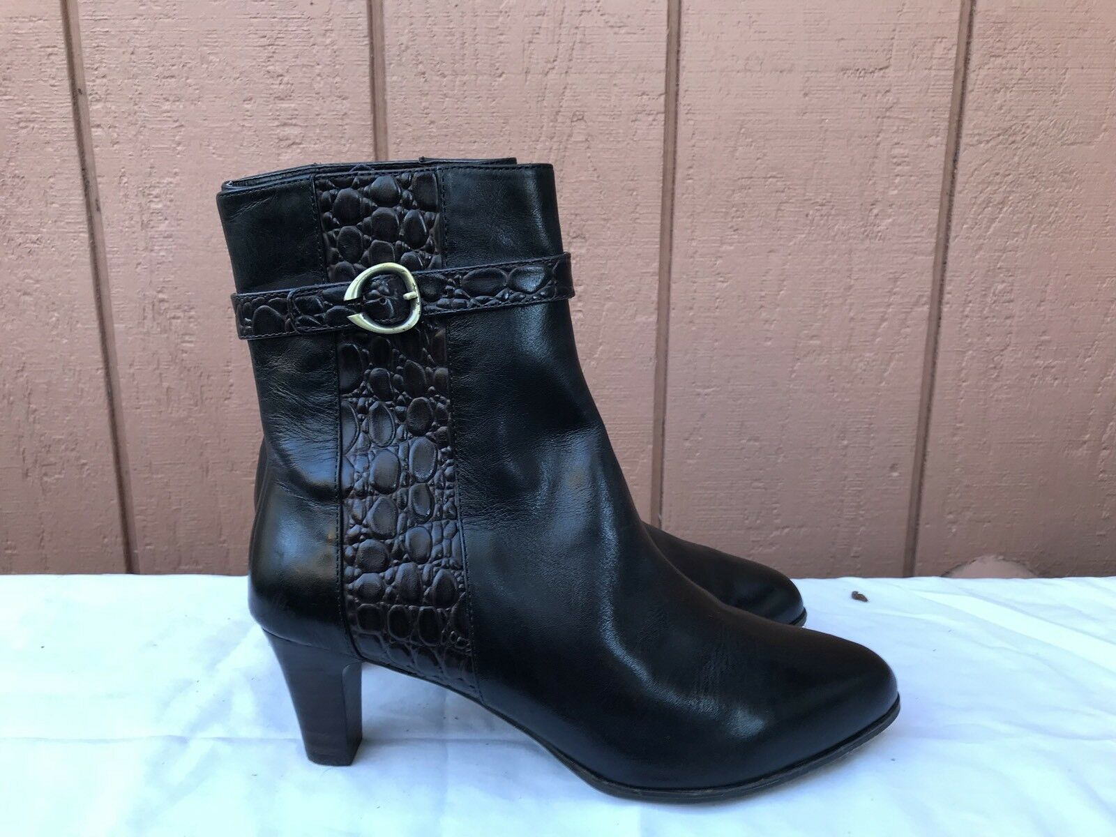 EUC Sudini Women Brown Leather Heels Mid Calf Boots Zip US shoes Size 9.5W
