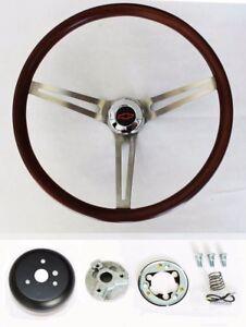 Blazer-C10-C20-C30-Pick-Up-Wood-Steering-Wheel-Low-Gloss-Grip-Red-Black-Cap-15-034