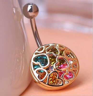 Crystal Navel Ring Belly Button Ring Gold Plated Heart Piercing Body Jewelry