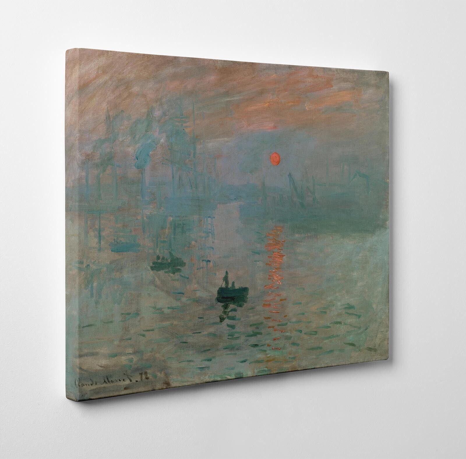 Claude Monet Impressione, levar del Sole Stampa su Tela Vernice Pennellate