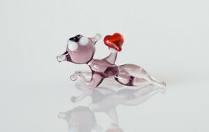 """Tiny Mouse Figurine, Blown Glass """"Murano"""" Art Collectible Animal Miniature"""