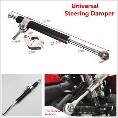 33cm Metal Silver Steering Damper  Adjust Stabilizer For Honda Yamaha Kawasaki