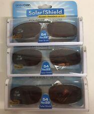 3 SOLAR SHIELD Clip-on Polarized Sunglasses 54 Rec 22 Brown lens Full Frame