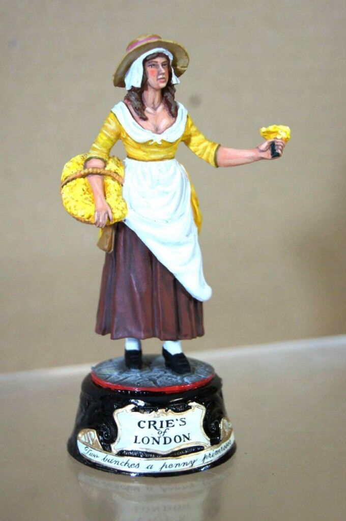 CHAS STADDEN ENGLISH PRIMpink FLOWER GIRL CRIES of LONDON STUDIO PAINTED pu