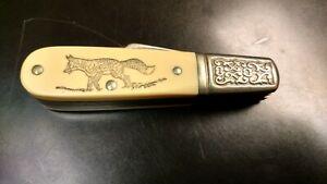SCHRADE USA SC-506 BARLOW FOX SCRIMSHAW KNIFE Double Blade Folding 506SC NEW