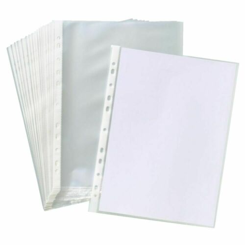 A4 PUNCH POCKETS PLASTIC 30//50//100 MICRON FOLDERS FILING WALLETS SLEEVES NEW
