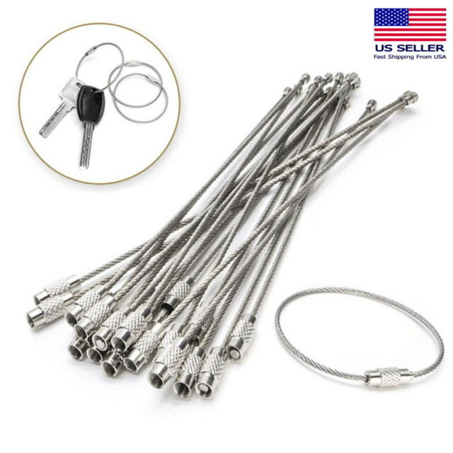 High Quality Stainless Steel Cable Wire Key Chain Ring Twist Screw Lock Keychain